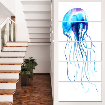 Designart Large Light Blue Jellyfish Animal CanvasArt Print- 5 Panels