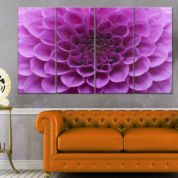 Designart Large Light Purple Flower and Petals Floral CanvasArt Print - 4 Panels