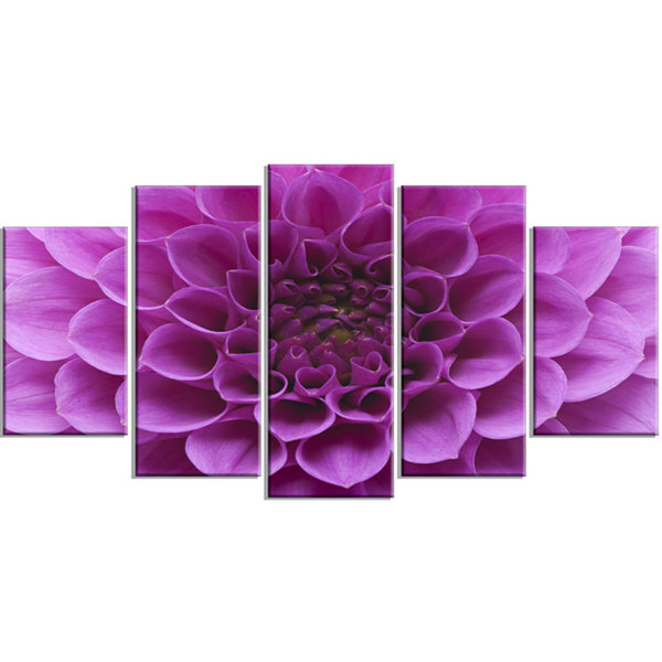 Large Light Purple Flower and Petals Floral Wrapped Canvas Art Print - 5 Panels