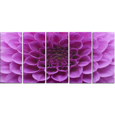 Designart Large Light Purple Flower and Petals Floral CanvasArt Print - 5 Panels