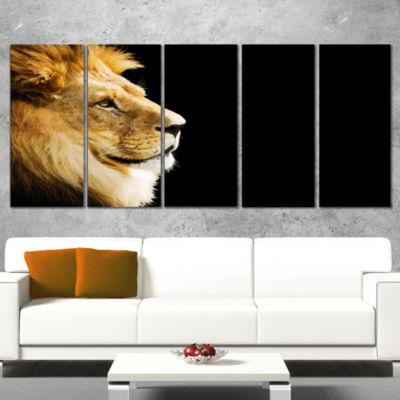 Designart Large Lion Portrait on Black African Wrapped Canvas Art Print - 5 Panels