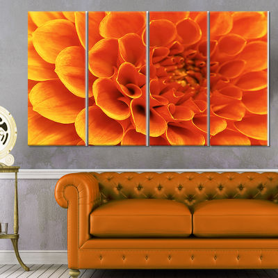 Large Orange Flower and Petals Floral Canvas Art Print - 4 Panels