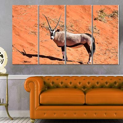Designart Large Oryx in Bright Namib Desert AnimalCanvas Art Print - 4 Panels