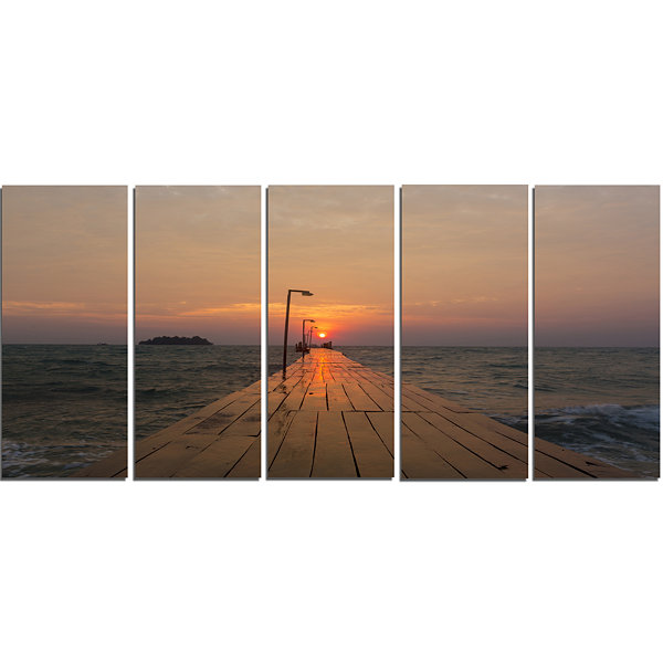 Designart Large Pier At Koh Rong Island Modern Beach CanvasArt Print - 5 Panels