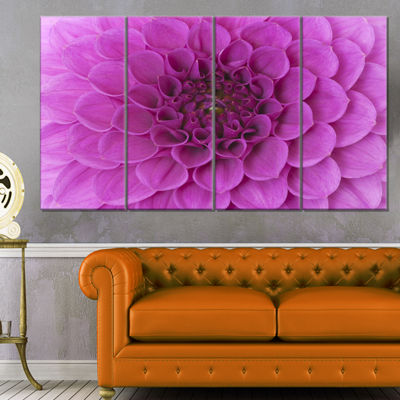 Designart Large Purple Flower and Petals Floral Canvas Art Print - 4 Panels