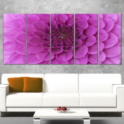 Large Purple Flower and Petals Floral Wrapped Canvas Art Print - 5 Panels