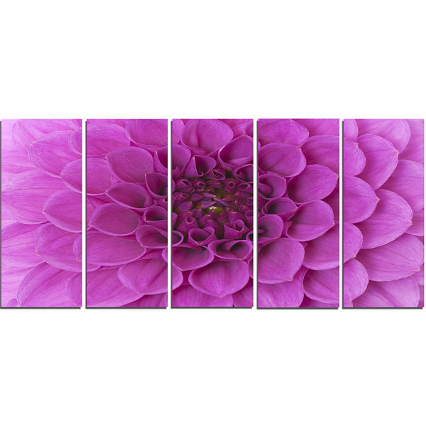 Large Purple Flower and Petals Floral Canvas Art Print - 5 Panels