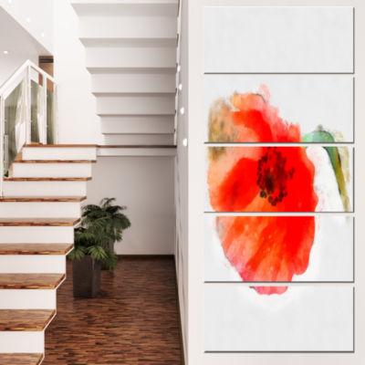 Designart Large Red Poppy on White Back Flower Artwork on Canvas - 5 Panels