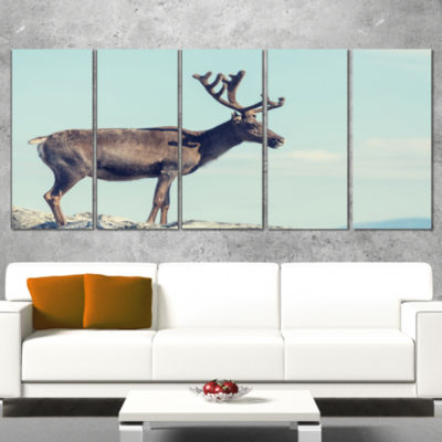 Large Reindeer in Norway Abstract Wrapped Canvas Art Print - 5 Panels