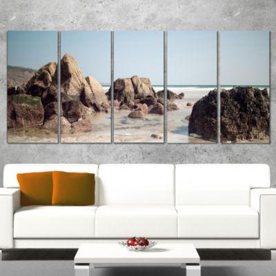 Designart Large Rocks At Coast Panorama Extra Large SeashoreCanvas Art - 4 Panels