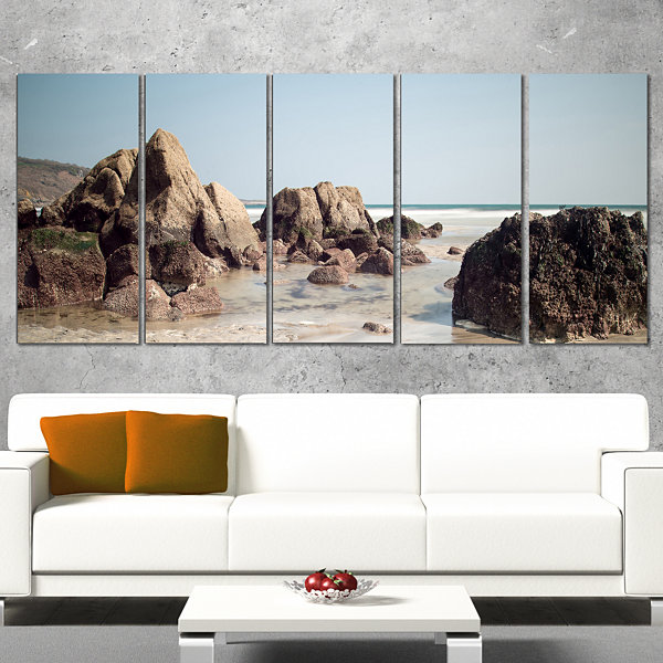 Large Rocks At Coast Panorama Extra Large SeashoreCanvas Art - 5 Panels