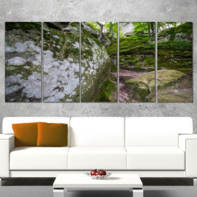 Designart Large Rocks in Deep Moss Forest Landscape Canvas Art Print - 5 Panels