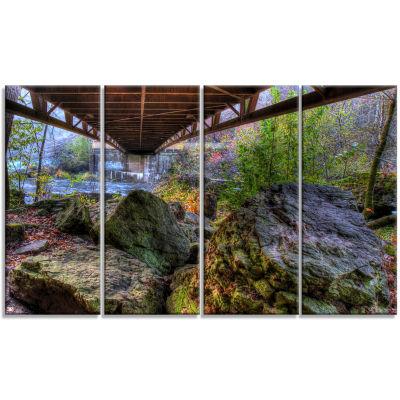 Designart Large Rocks Under Bridge in Creek Landscape Photography Canvas Print - 4 Panels