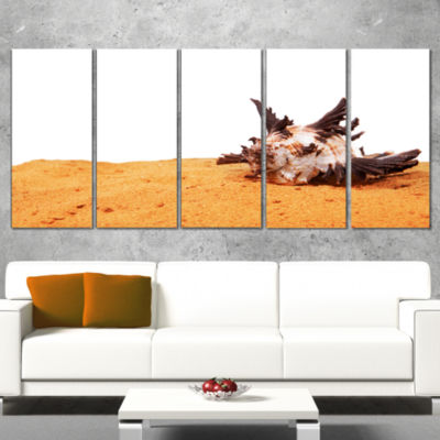 Designart Large Sea Shells on Sand Seascape CanvasArt Print- 4 Panels
