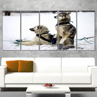 Designart Large Sled Dogs Relaxing Oversized Animal Wall Art- 4 Panels