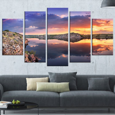 Designart Large Summer Clouds Reflection LandscapePhotography Canvas Print - 4 Panels