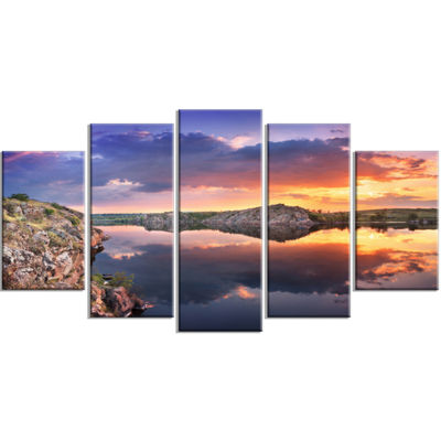 Designart Large Summer Clouds Reflection LandscapePhotography Canvas Print - 5 Panels