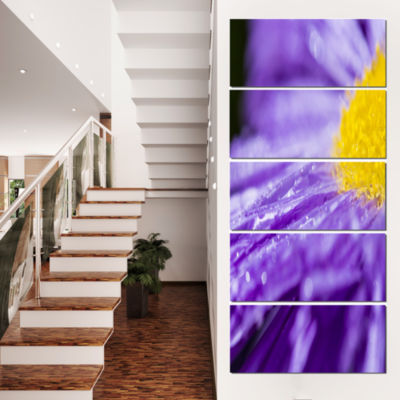 Large Violet Flower Petal Close Up Large Flower Canvas Wall Art - 4 Panels
