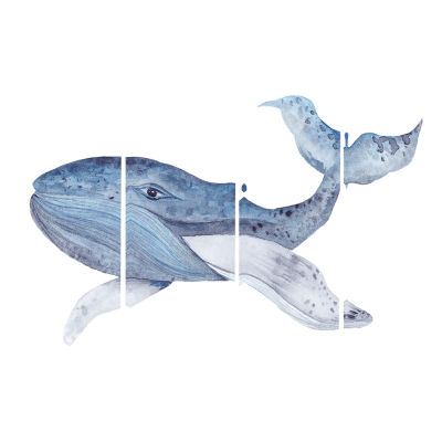 Large Watercolor Whale Animal Art Canvas Print - 4Panels