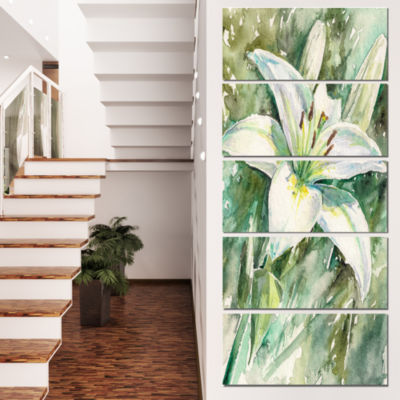 Designart Large White Lily Painting Floral CanvasArt Print- 5 Panels
