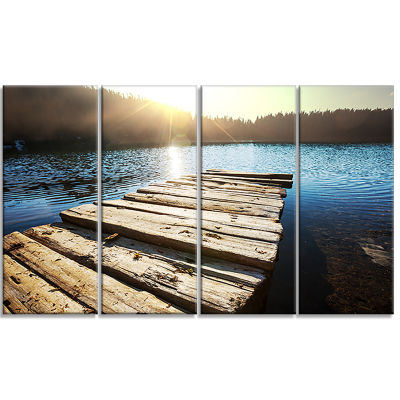 Large Wooden Pier into The Lake Seashore Canvas Art Print - 4 Panels