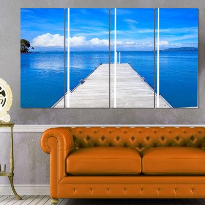 Designart Large Wooden Pier Seascape Canvas Art Print - 4 Panels