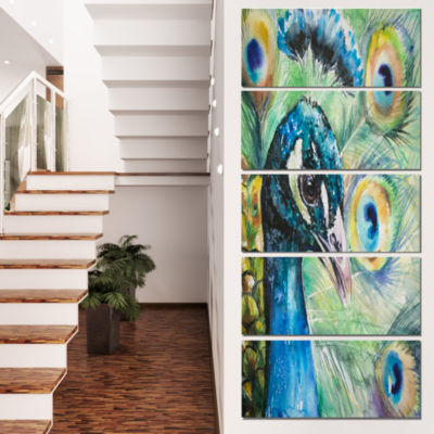 Designart Larger Peacock Watercolor Abstract Canvas Art Print - 5 Panels