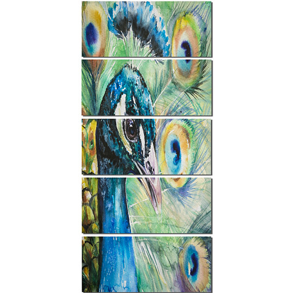 Larger Peacock Watercolor Abstract Canvas Art Print - 5 Panels