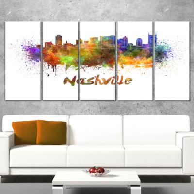 Designart Las Vegas Skyline Cityscape Canvas Artwork Print -5 Panels