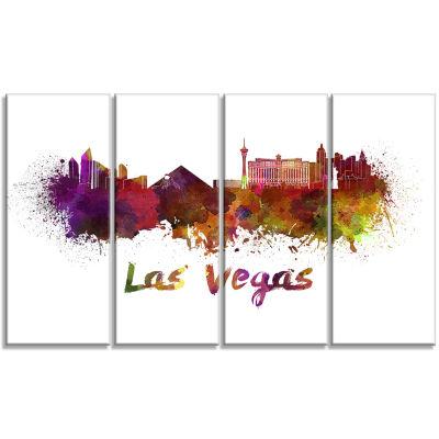 Designart Las Vegas Skyline Large Cityscape CanvasArtwork Print - 4 Panels