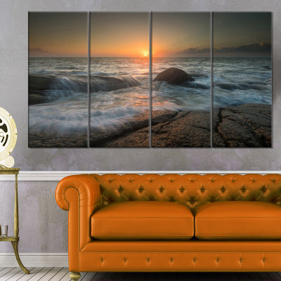 Lashing Sea Waves At Sunset Beach Photo Canvas Print - 4 Panels