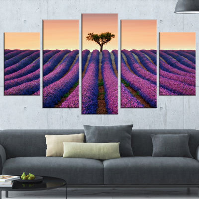 Designart Lavender and Lonely Tree Uphill Landscape Photography Wrapped Canvas Print - 5 Panels