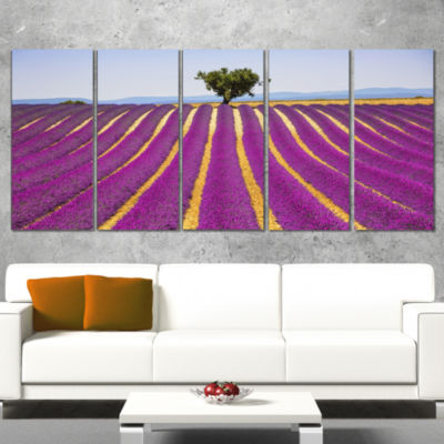 Designart Lavender and Lonely Tree Uphill Oversized Landscape Wall Art Print - 5 Panels