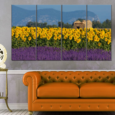 Designart Lavender and Sunflower in Provence Floral Canvas Art Print - 4 Panels