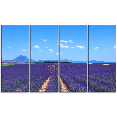 Lavender Blooming Fields and Trees Oversized Landscape Wall Art Print - 4 Panels