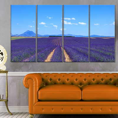 Designart Lavender Blooming Fields and Trees Oversized Landscape Wall Art Print - 4 Panels