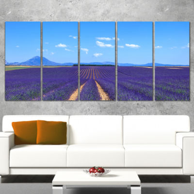 Designart Lavender Blooming Fields and Trees Oversized Landscape Wall Art Print - 5 Panels
