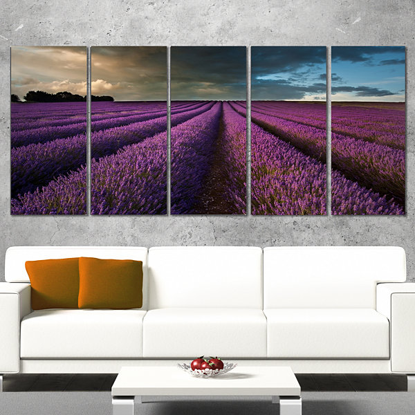 Designart Lavender Field and Dramatic Sky Floral Canvas ArtPrint - 4 Panels