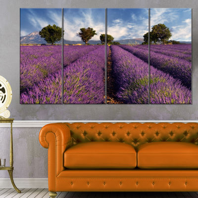 Designart Lavender Field on Windy Afternoon LargeFlower Canvas Wall Art - 4 Panels