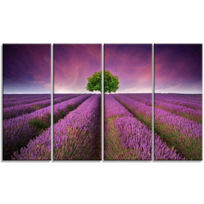Designart Lavender Field Sunset With Single Tree Floral Canvas Art Print - 4 Panels