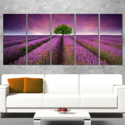 Lavender Field Sunset With Single Tree Floral Canvas Art Print - 4 Panels
