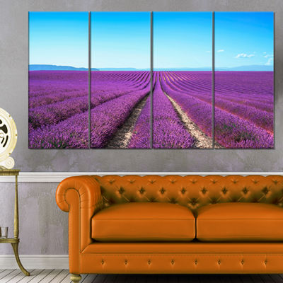 Designart Lavender Flower Blooming Fields AbstractCanvas Artwork - 4 Panels