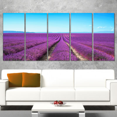 Lavender Flower Blooming Fields Abstract Canvas Artwork - 5 Panels