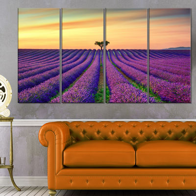 Designart Lavender Flower Rows in Provence Oversized Landscape Wall Art Print - 4 Panels