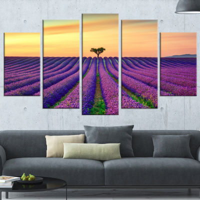 Lavender Flower Rows in Provence Oversized Landscape Wrapped Wall Art Print - 5 Panels