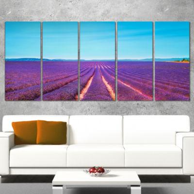 Designart Lavender Flowers and Clear Sky OversizedLandscapeWall Art Print - 4 Panels