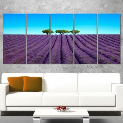 Designart Lavender Flowers and Uphill Green TreesOversizedLandscape Wall Art Print - 4 Panels