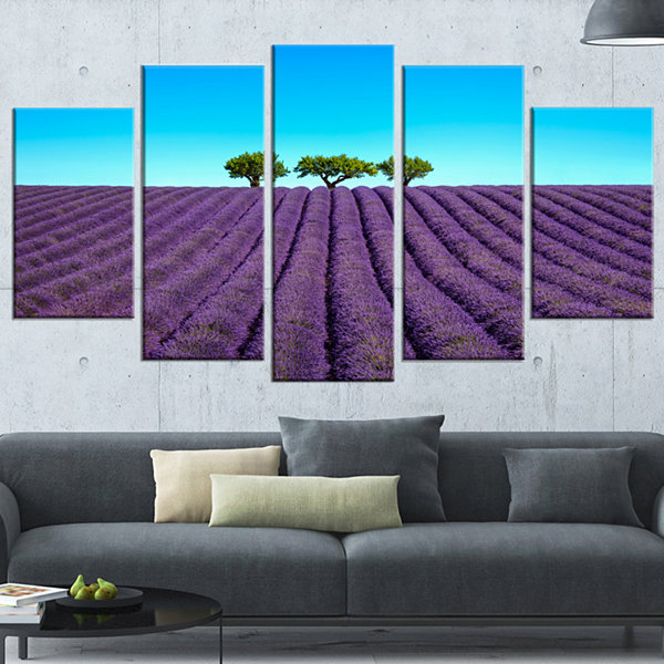Designart Lavender Flowers and Uphill Green TreesOversizedLandscape Wrapped Wall Art Print - 5 Panels