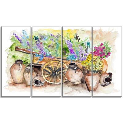 Designart Lavender Flowers Floral Art Canvas Print- 4 Panels