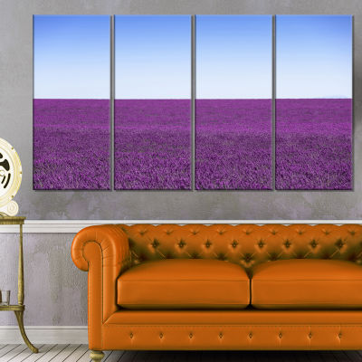 Lavender Flowers With Blue Horizon Oversized Landscape Wall Art Print - 4 Panels